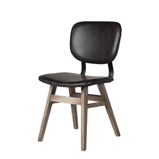 Sloan Side Chair in Vintage Black Leather
