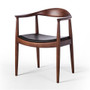 Wegner Inspired Kennedy Arm Chair in Black Leather