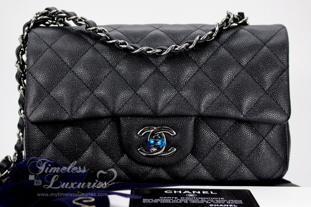 95c6c0d8 CHANEL 18C Black Iridescent Caviar Mini Rectangle Flap Bag ...