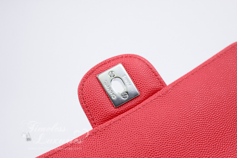 cd74cf11 CHANEL 2018 Lt Red Caviar Rectangle Mini Silver Hw #25xxxxxx *New ...