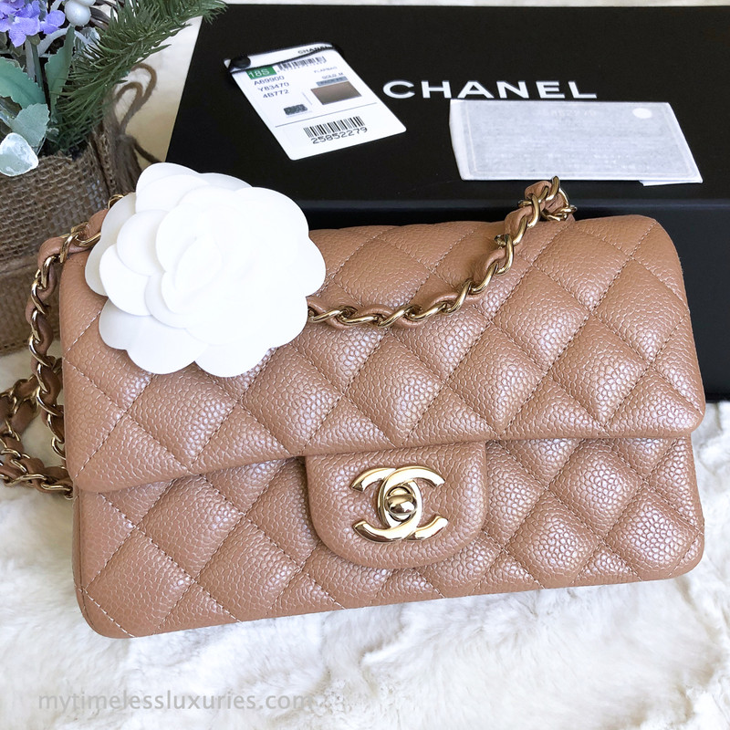 0ae21cc7 CHANEL 18S Pearly Beige Caviar Rectangle Mini Light Gold Hw ...
