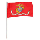 """Marine Corps Flag 12"""" x 18"""" mounted on 24"""" wooden stick"""