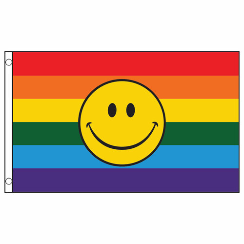 Rainbow Happy Face Flag 3ft x 5ft Printed Polyester