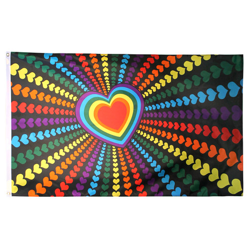 Rainbow Love Flag 3ft x 5ft Printed Polyester