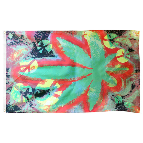 Tie Dye Marijuana Peace Flag 3ft x 5ft Printed Polyester