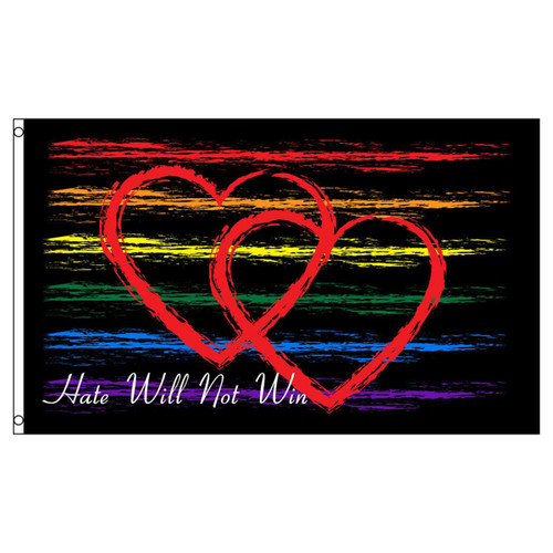 Hate Will Not Win Flag 3ft x 5ft Printed Polyester