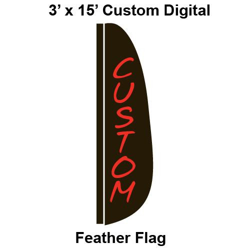 Custom Digital 3' x 15' Feather Flag