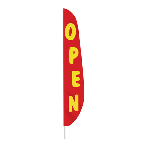 Feather Message Open Banner Flag - Red