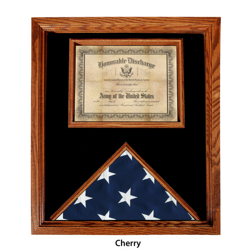 Premium USA-Made Solid Oak Flag And Document Case - Cherry - For 3' x 5' Flags