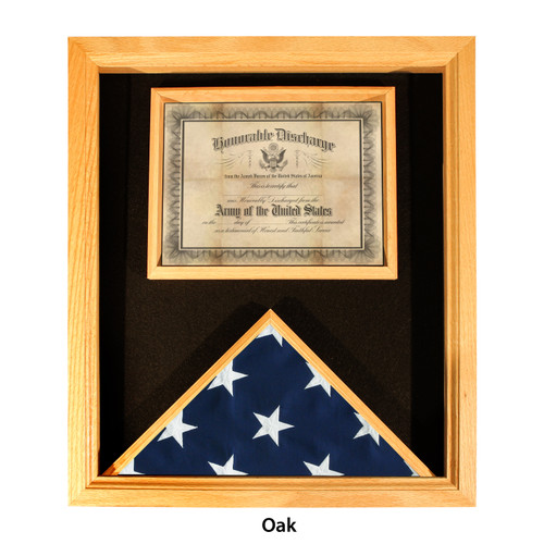 Washington Deluxe Flag and Certificate Display Case for 3' x 5' Flag - Oak