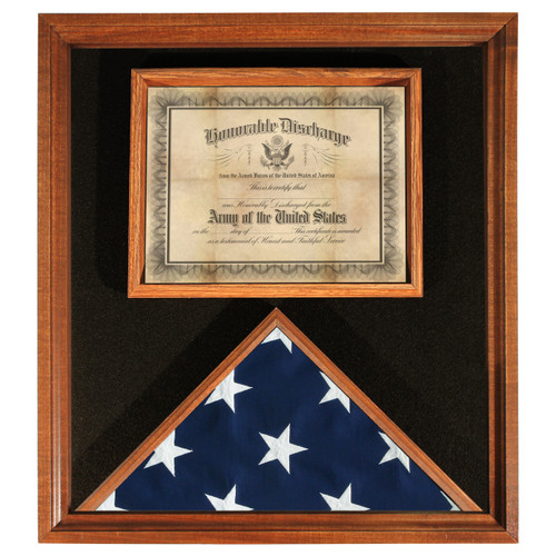 Deluxe USA-Made Hardwood Flag and Document Case - Cherry - for 3' x 5' Flags
