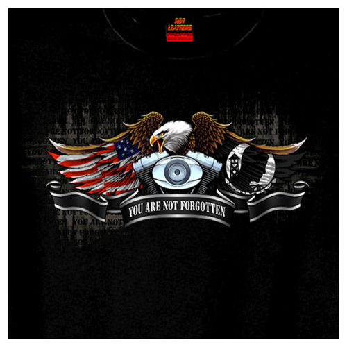Hot Leather Front and Back Printed T-Shirt- Born Free Eagle POW