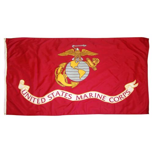 Marine Corps 4ftx6ft Flag with Indoor Pole Hem and Fringe