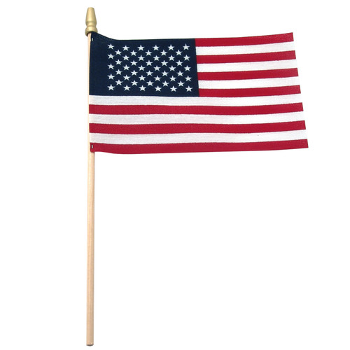 """USA Stick Flag  4"""" x 6"""" Standard with Spear Tip"""