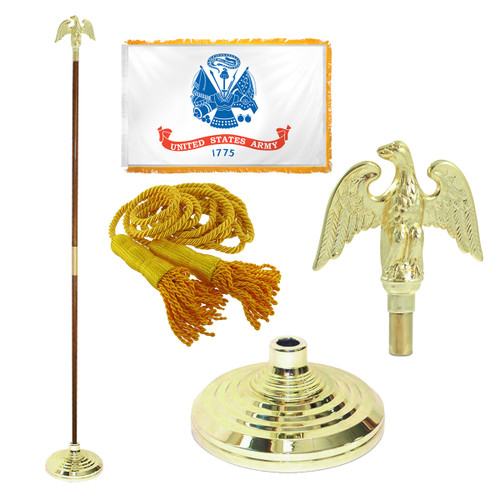 Super Tough Army 4ft x 6ft Flag, Telescoping Flagpole, Base, and Tassel