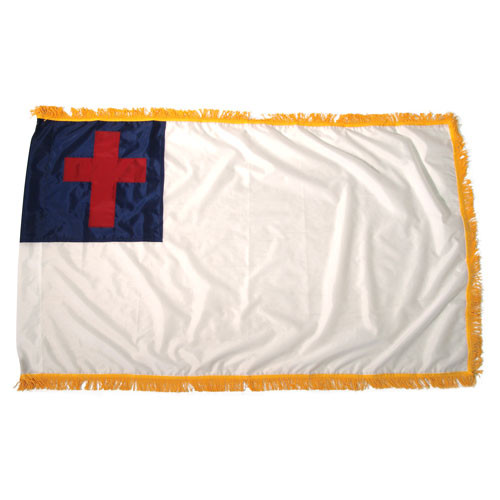 Christian Flag 3ft x 5ft Indoor with Fringe-Nylon