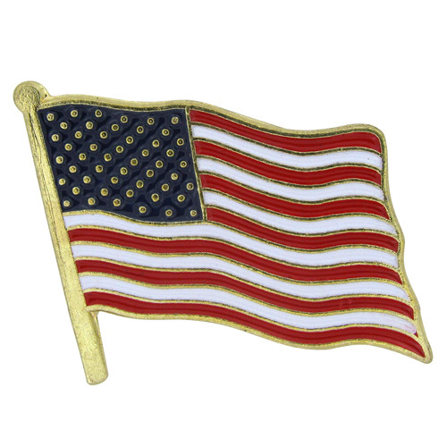 USA Flag Lapel Pin Standard-Longer Pole - Single