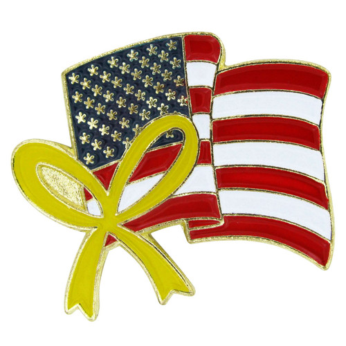 USA Flag Lapel Pin with Ribbon - Single