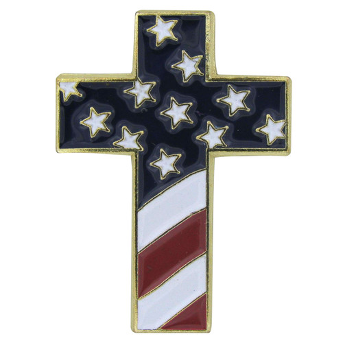 Christian Cross Special Design Pin with USA Flag - Single