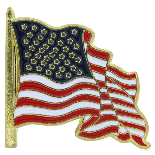 Waving USA Flag Lapel Pin - Single