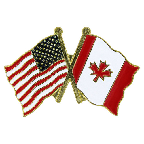 USA Flag(left)/Canada Flag(right) Lapel Pin - Single