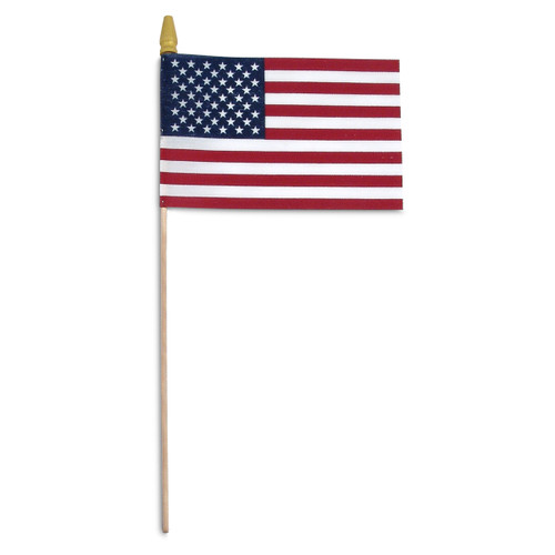 "Super Tough US Stick Flag 8"" x 12""- Wood Stick with Spear Tip"