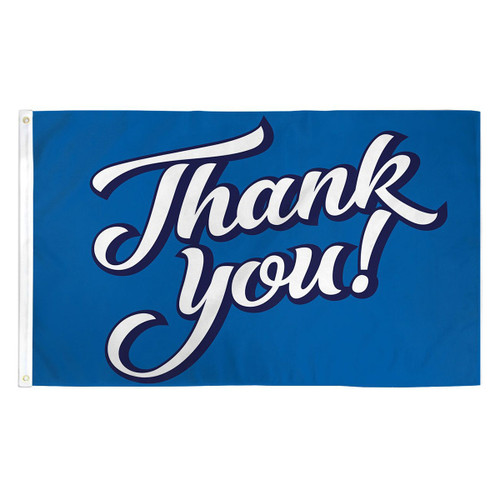 Thank You Flag - Blue- 3ft x 5ft Printed Polyester
