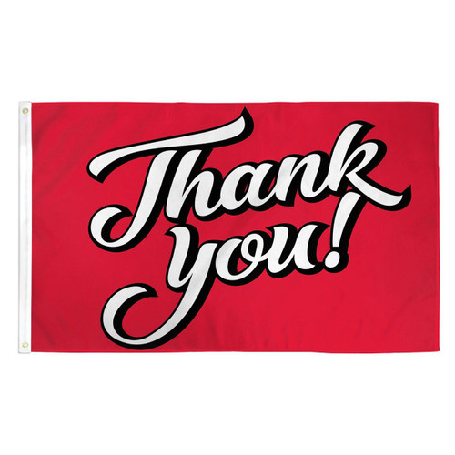 Thank You Flag - Red - 3ft x 5ft Printed Polyester