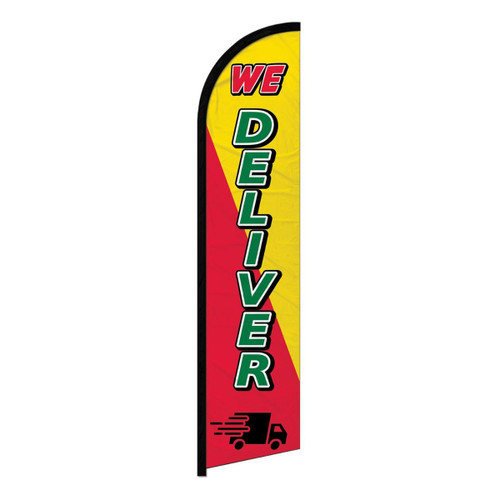 We Deliver Red & Yellow Blade Flag