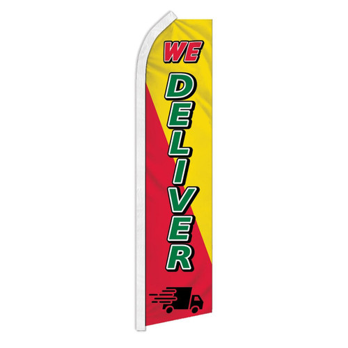 We Deliver Red & Yellow Swooper Flag