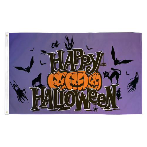 Purple Happy Halloween Flag - 3ft x 5ft Printed Polyester