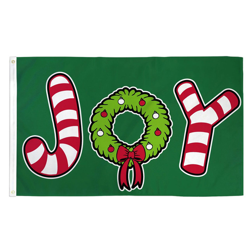 Joy Candy Cane Flag - 3ft x 5ft Printed Polyester