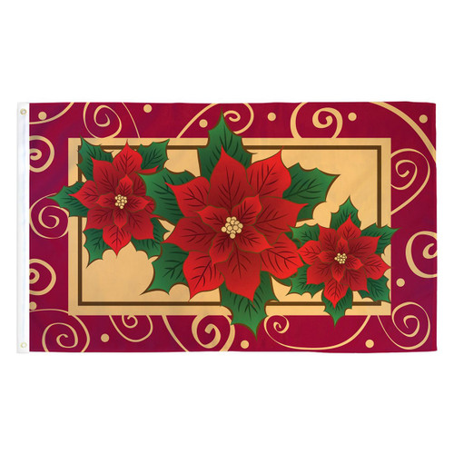Poinsettias Flag - 3ft x 5ft Printed Polyester