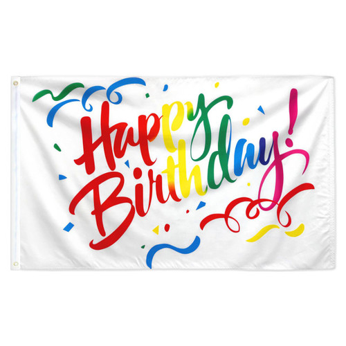Happy Birthday Flag - 3ft x 5ft Printed Polyester