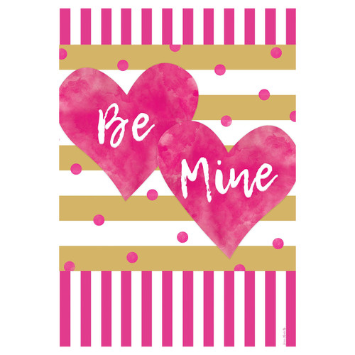 Valentine's Day Banner Flag - Pink & Gold Hearts
