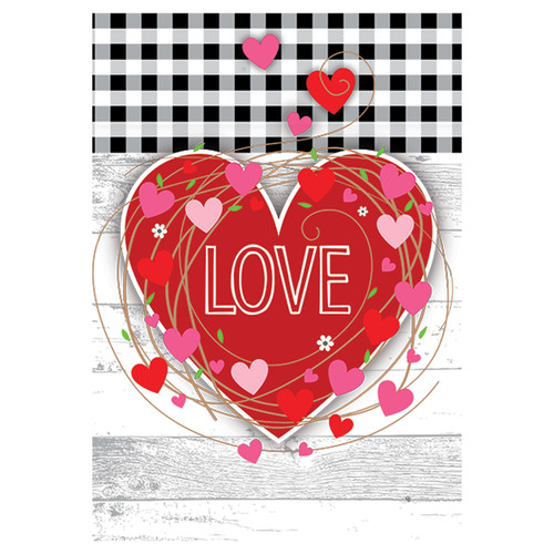 Valentine's Day Banner Flag - Gingham Heart