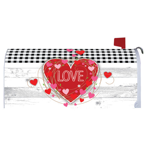 Valentines Day Mailbox Cover - Gingham Hearts
