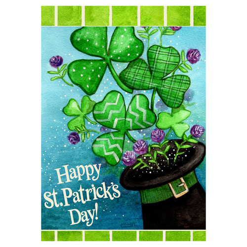 St. Patrick's Day Banner Flag - Clovers & Top Hat