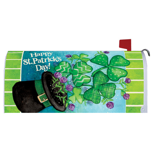 St. Patrick's Day Mailbox Cover - Clovers & Top Hat