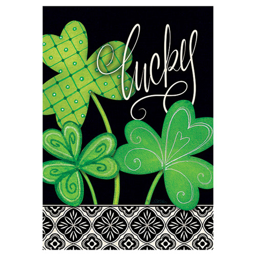 St. Patrick's Day Garden Flag -  Lucky Clovers