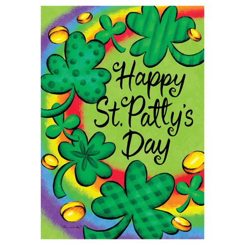 St. Patrick's Day Garden Flag -  Clovers & Rainbows