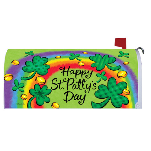 St. Patrick's Day Mailbox Cover - Clovers & Rainbow