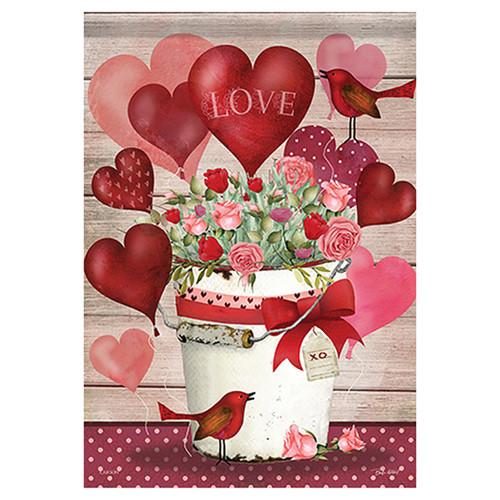 Valentine Garden Flag - Valentine Bucket