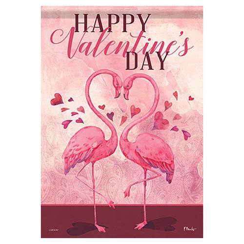 Valentine Garden Flag - Flamingo Love