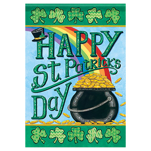 St. Patrick's Day Banner Flag - Rainbows & Gold