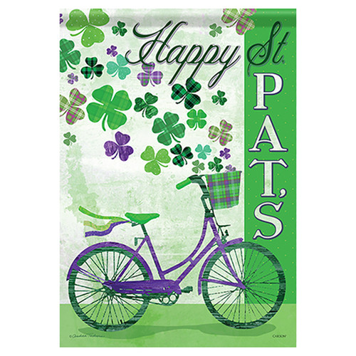 St. Patrick's Day Garden Flag - Bike and Shamrocks