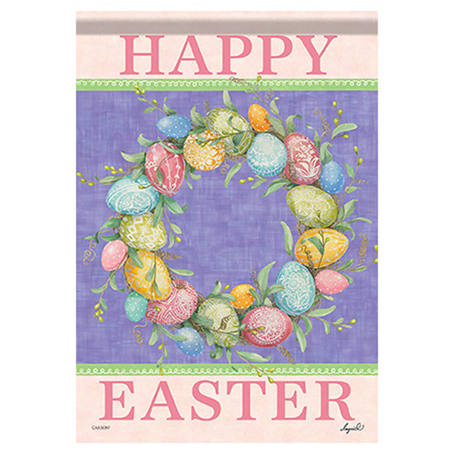 Easter Banner Flag - Happy Easter Wreath