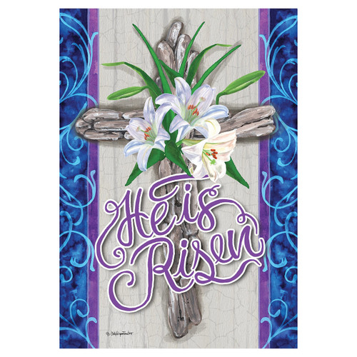 Easter Banner Flag - Cross and Lilies