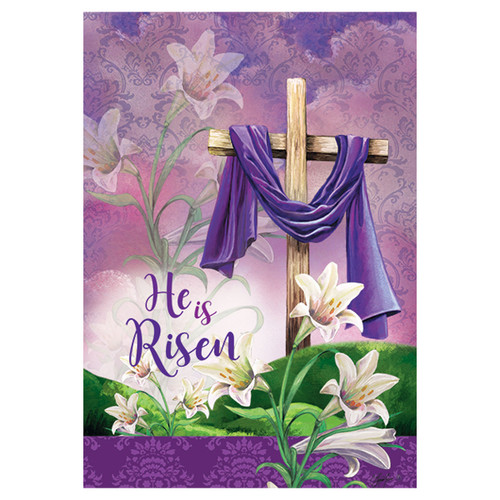 Easter Garden Flag - He Is Risen