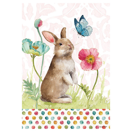 Easter Garden Flag - Bunny and Flowers